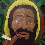 Old Jamaican Rastafarian smoking a weed splif all day long, absolutely happy, absolutely stones - discover prints to have this happy face on your mug in the morning or a magnet on a fridge maybe?