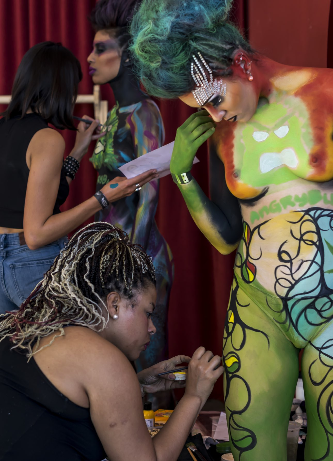 AngryBud BodyArt Artists at Work at CannabisCupMontevideo 2017