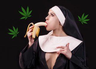 Monja Eating Natural Banana Fertilizer