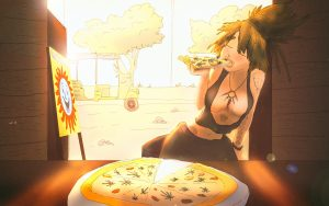Ganja girls wallpapers - marijuana girl enjoys weed pizza in Cambodia (happy pizza in Seam Reap)