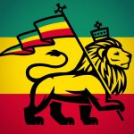 Rastafarian Flag (artist impression) with the traditional colours and the Judah lion with the royal symbols on this flag
