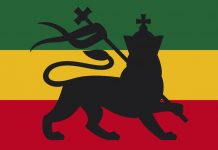 Rastafari FLAG showing the Judah Lion on itself. A symbol of Ras Tafari Religion and of the World Cannabis community too, especially in Jamaica