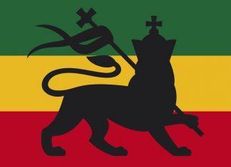 Rastafari FLAG showing the Judah Lion on itself. A symbol of Ras Tafari Religion and of the World Cannabis community too, especially in Jamaica