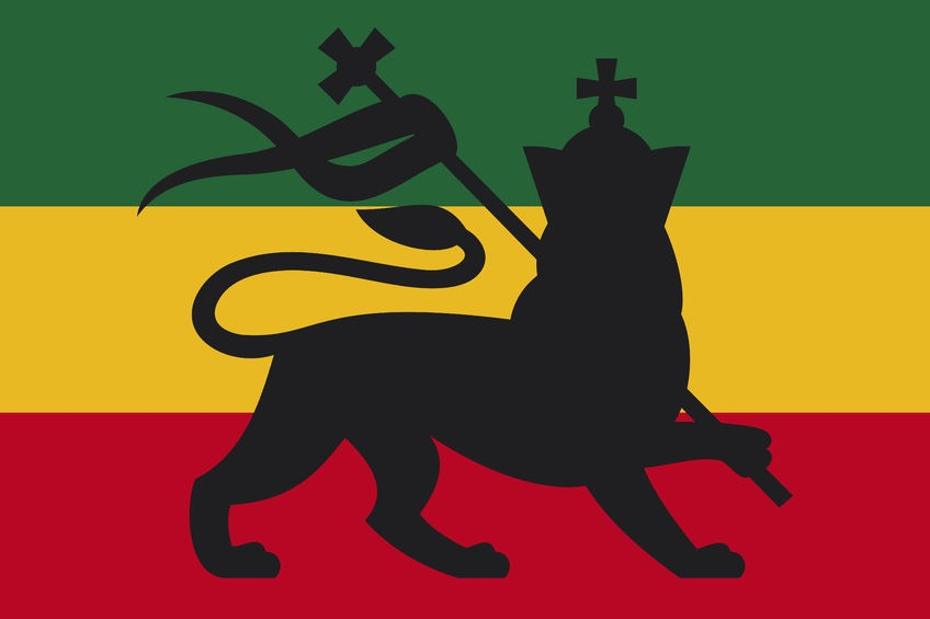 Rastafari Colors showing the Judah Lion, a symbol of Ras Tafari Religion and of the World Cannabis community