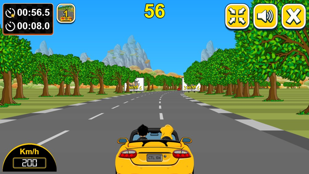 Yellow Cabriolet and a Hot Sexy Blond sitting next to you - taste this fancy speedy funny game - the Car Rush Racing online-game for mobiles, desktop, PC or Mac