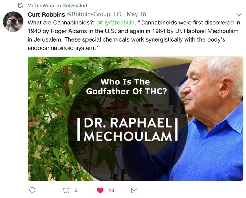Twitter Screenshot about the Godfather of Cannabis