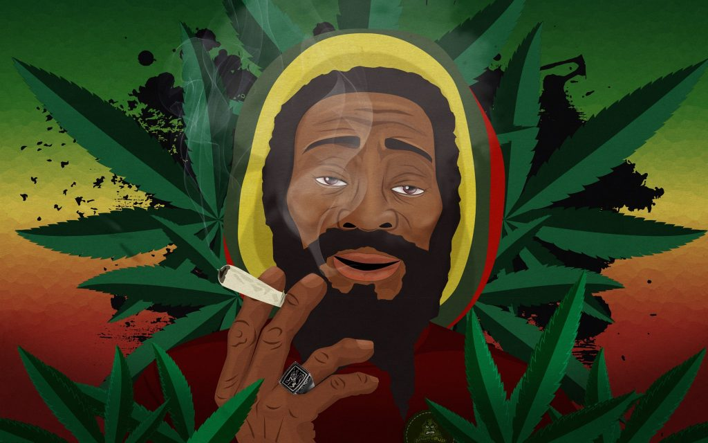 Jamaica Man a hard stoner, creative designs for cannabis and beyond into social media ARGH!!